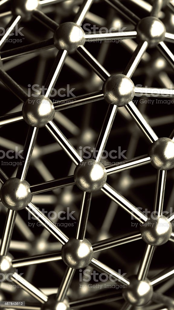 abstract background. 3D rendered silver glossy core molecules structure stock photo