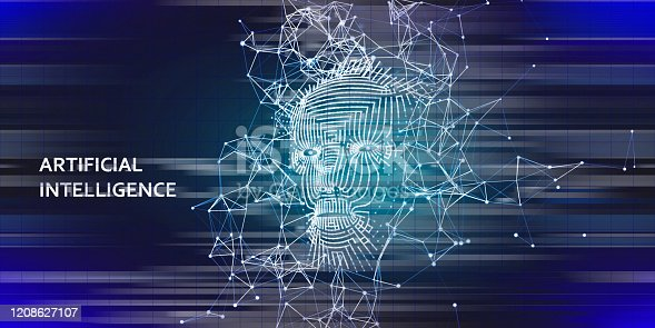 istock Abstract background AI with  3d wireframe face.   Artificial intelligence concept with blurred lines. Abstract digital grid human face. 1208627107