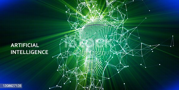 istock Abstract background AI with  3d wireframe face.   Artificial intelligence concept with shine. Abstract digital grid human face 1208627125