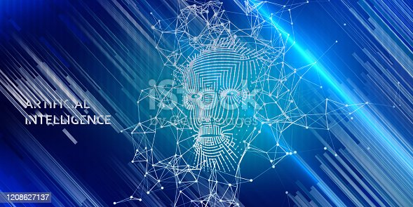 istock Abstract background AI with  3d wireframe face.   Artificial intelligence concept. Abstract digital grid human face. 1208627137