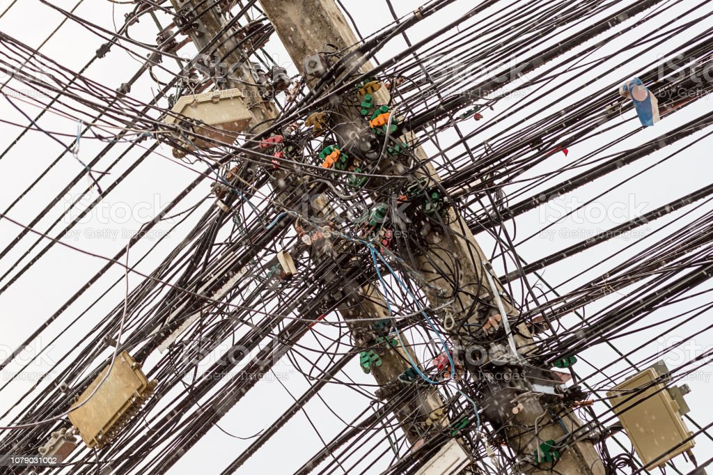 Abstract Background Asia Electric Wires Lots Of Line Disorderly Series Chaos Horror Electrician Stock Photo Download Image Now Istock