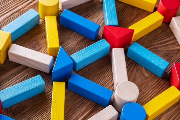 Abstract Background. Background with different colorful shapes wooden blocks. stock photo