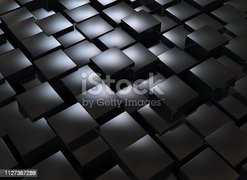 istock Abstract background, black cubes 1127367289