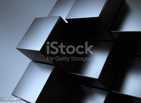 istock Abstract background, black cubes 1147416617