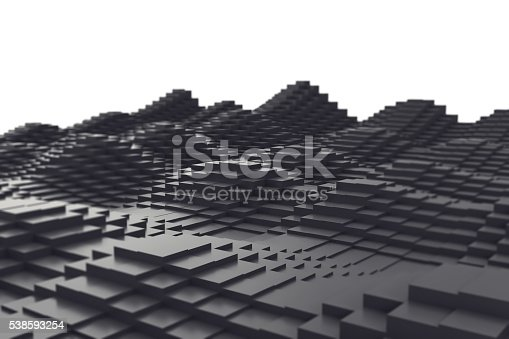 istock Abstract background, black metal cubes in the form of a 538593254