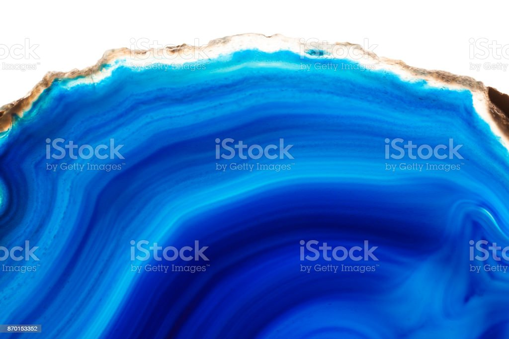 Abstract background - blue agate mineral cross section isolated on white background stock photo