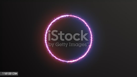 istock Abstract background blue red spectrum fluorescent light with neon circle LED animation 3D rendering 1181051294