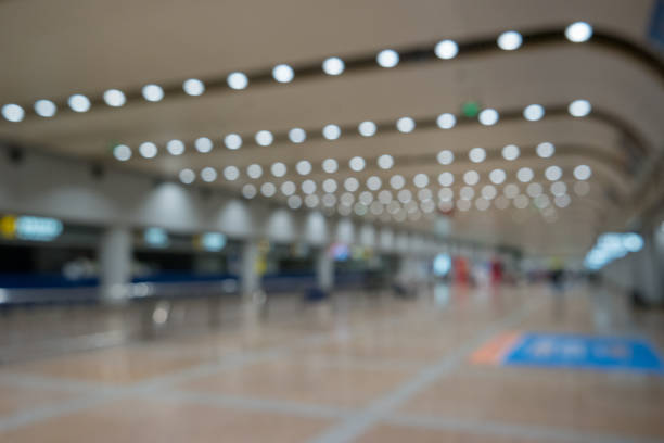 Abstract background. Blurred image of aeroport interior. stock photo
