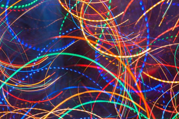 Zusammenfassung Hintergrund. Hell leuchtende mehrfarbige wellig und Runde solide und gestrichelte Linien. – Foto