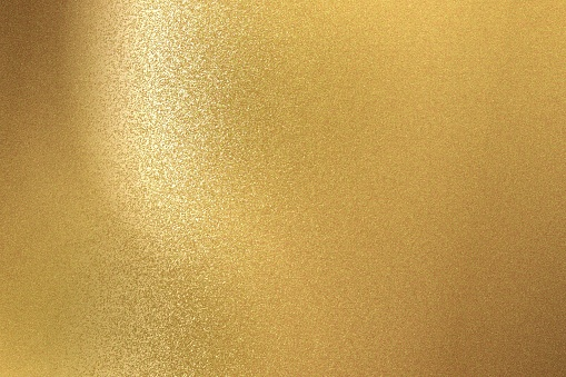 Abstract background, brushed gold steel wall texture