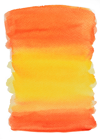 Watercolor stroke and spray on white paper , Abstract background by hand drawn brown with orange and yellow  liquid drip