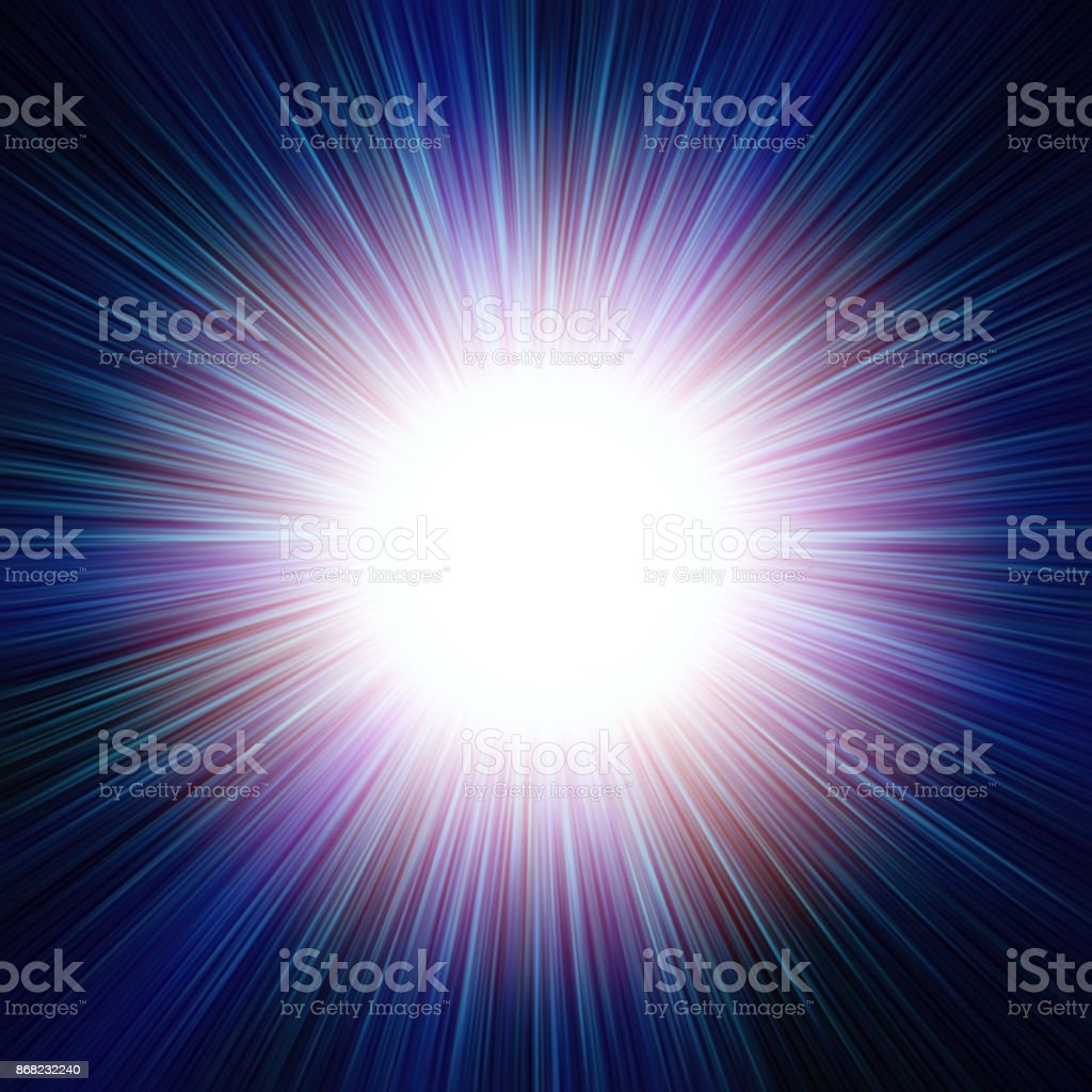 Abstract background (backdrop) cosmic illustration that represents a pattern of starburst or sunburst or supernova burst closeup with bright central disc (which fits to insert a text there), halo and long rays. stock photo