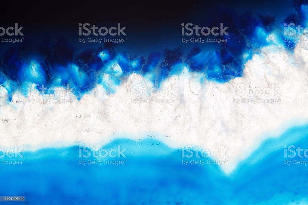 Abstract background - dark blue agate slice mineral stock photo