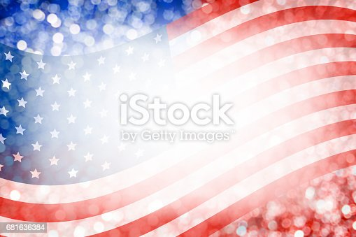 istock Abstract background design of american flag and bokeh for 4 july independence day and other celebration 681636384