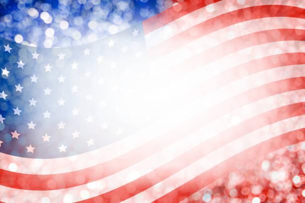 amerikan bayrağı ve 4 temmuz bağımsızlık günü ve diğer kutlama için bokeh arka plan tasarlamak - columbus day stok fotoğraflar ve resimler