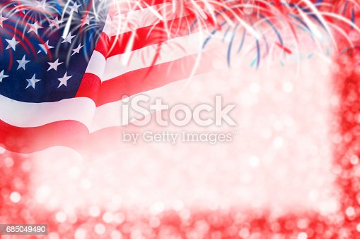 istock Abstract background design of USA flag and bokeh with firework for 4 july independence day and other celebration 685049490