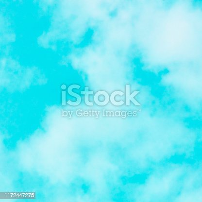 876037346 istock photo Abstract background, design template with copy space. Teal blue sky with soft clouds 1172447275