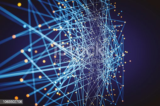 istock Abstract background from lines and spheres 1063502706