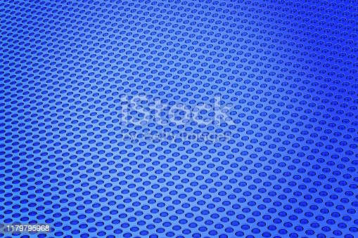 187097170 istock photo Abstract Background from metal sheet with holes. 3D illustration. 1179795968