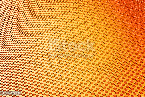 187097170 istock photo Abstract Background from metal sheet with holes. 3D illustration. 1179795990