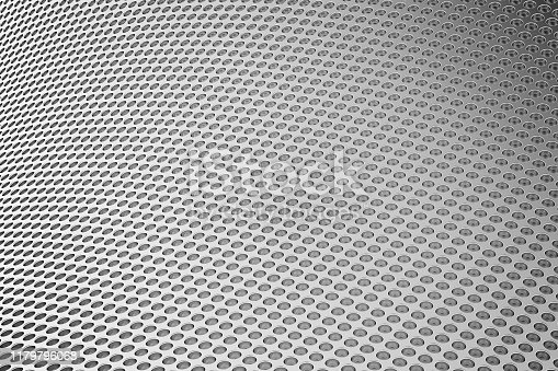 187097170 istock photo Abstract Background from metal sheet with holes. 3D illustration. 1179796068