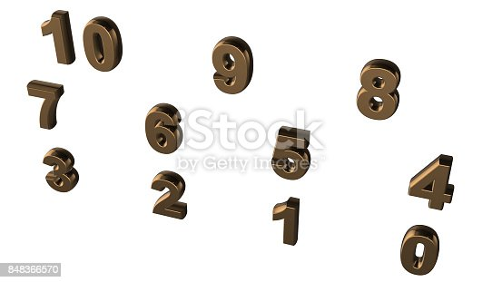 istock Abstract background from set of three-dimensional numbers 848366570