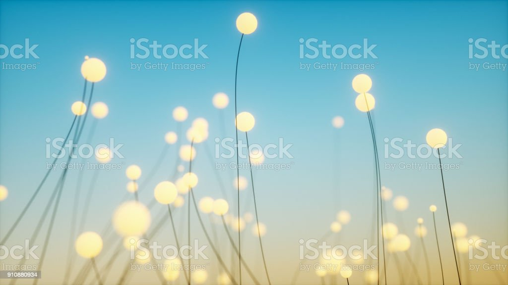 Abstract background glowing dots stock photo