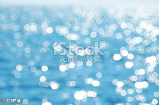 Abstract background image of defocused lights of shiny sea surface in sunny day