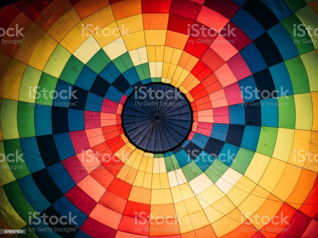 Abstract background, inside colorful hot air balloon stock photo