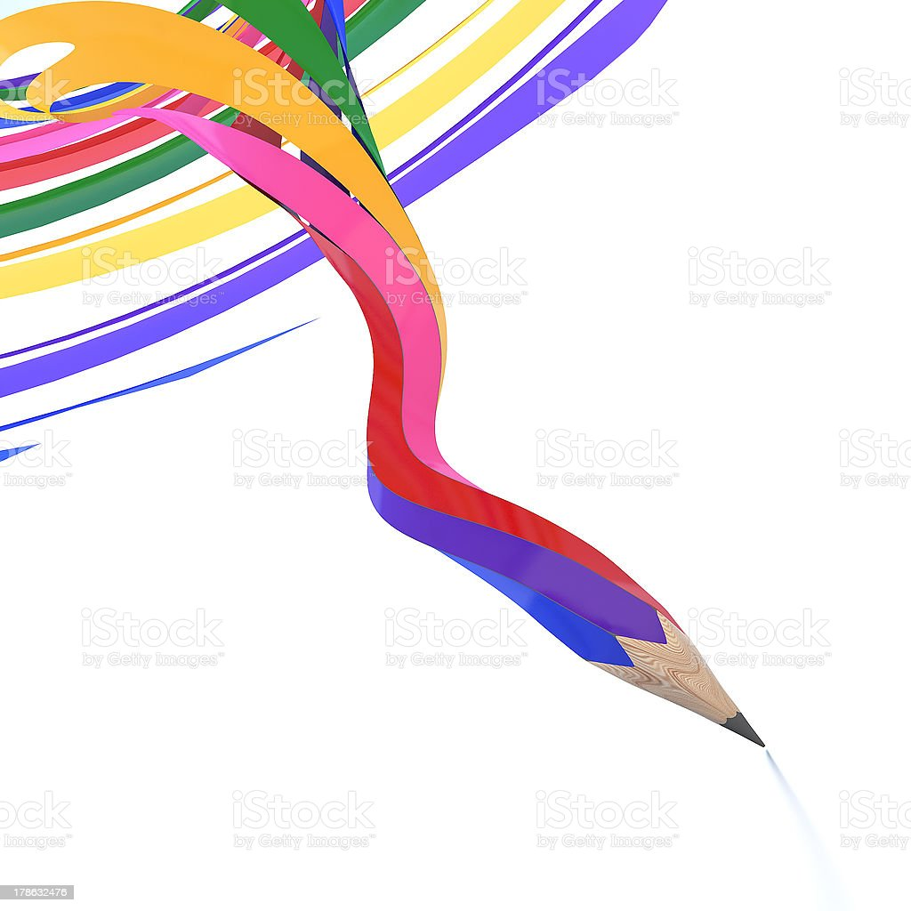 Abstract background line of colour pencil stock photo