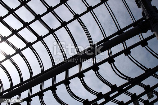 istock Abstract background material photo that many power lines are connected in multiple layers 1223087997