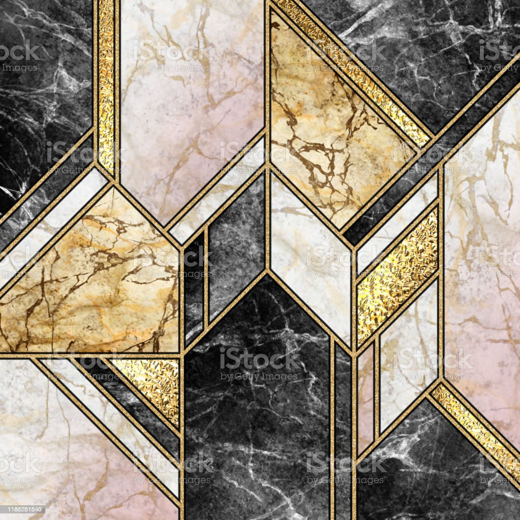 Abstract Background Modern Marble Mosaic Artificial Agate Granite Stone Texture Black White Gold Marbled Tile Geometrical Fashion Marbling Illustration Art Deco Wallpaper Stock Photo Download Image Now Istock