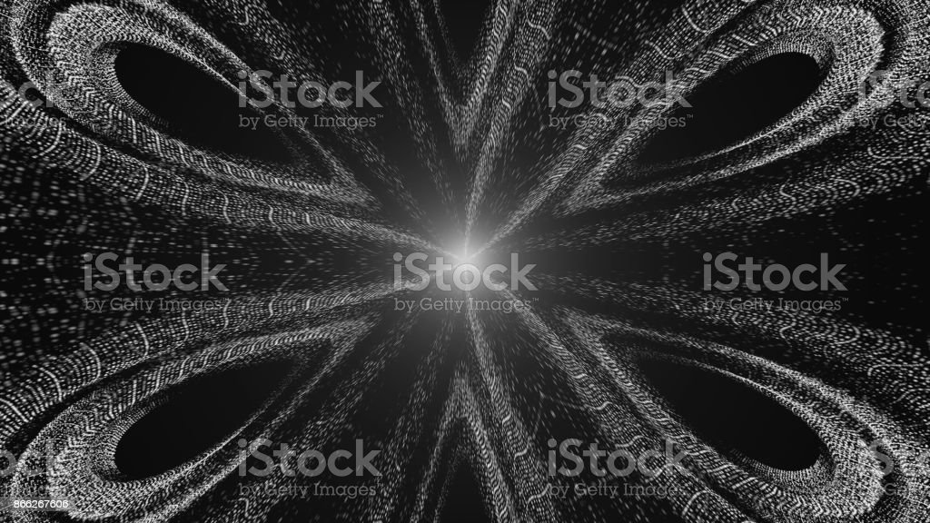 Abstract background of a kaleidoscope consisting of particles. Colorful stock photo