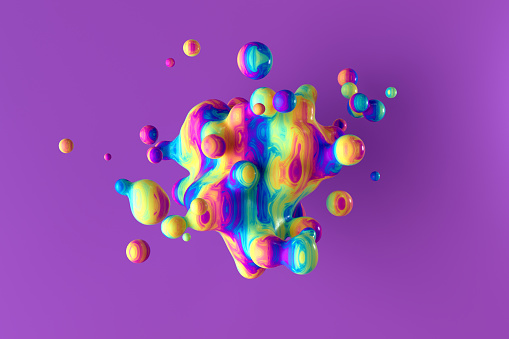 Abstract background of a splash of multicolored rainbow liquid