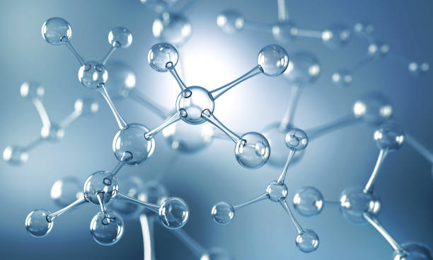 Abstract background of atom or molecule structure stock photo