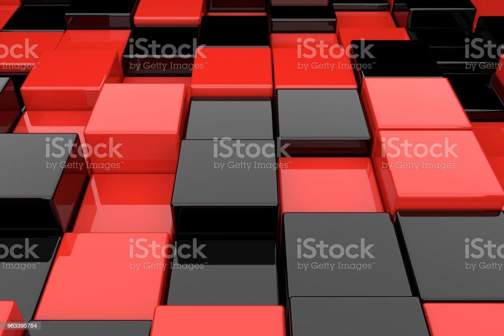 Abstrakcyjne tło czarnych i czerwonych kostek. renderowania 3D. - Zbiór zdjęć royalty-free (Abstrakcja)