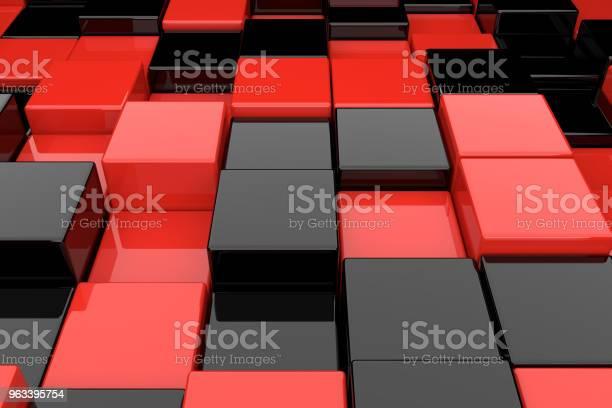 Abstrakcyjne Tło Czarnych I Czerwonych Kostek Renderowania 3d - zdjęcia stockowe i więcej obrazów Abstrakcja