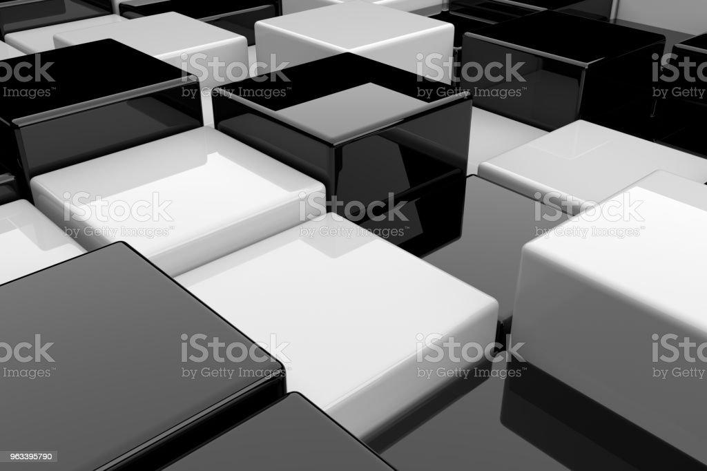 Abstrakcyjne tło czarno-białych kostek. renderowania 3D. - Zbiór zdjęć royalty-free (Abstrakcja)