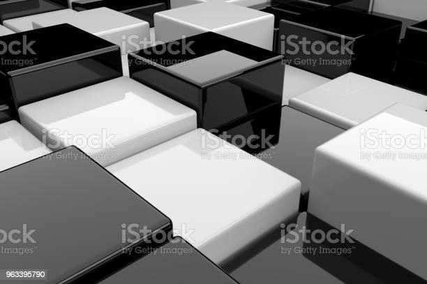 Abstrakcyjne Tło Czarnobiałych Kostek Renderowania 3d - zdjęcia stockowe i więcej obrazów Abstrakcja
