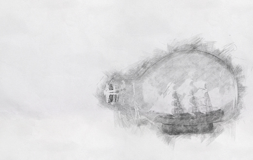 Abstract Background Of Boat In The Bottle Pencil Sketch Painting