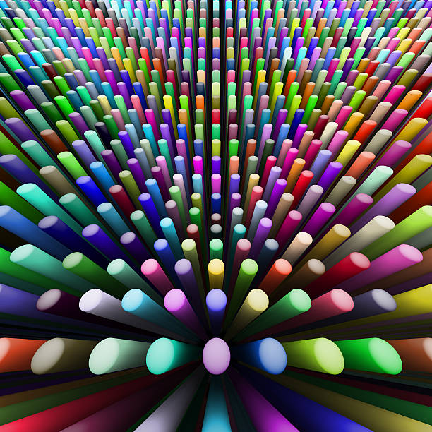 abstract background of colorful cylinders stock photo