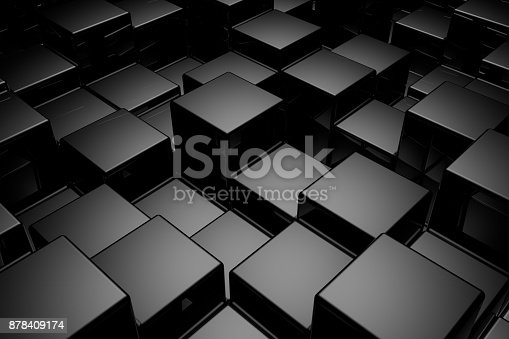 istock Abstract background of cubes. 3D rendering. 878409174