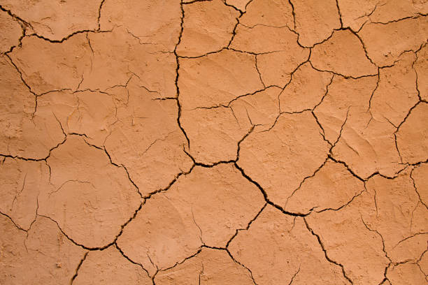 Abstract background of dried cracked earth stock photo