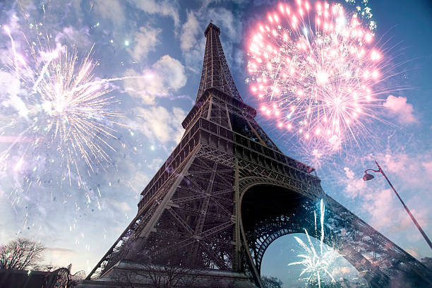 Abstract background of Eiffel tower with fireworks stock photo