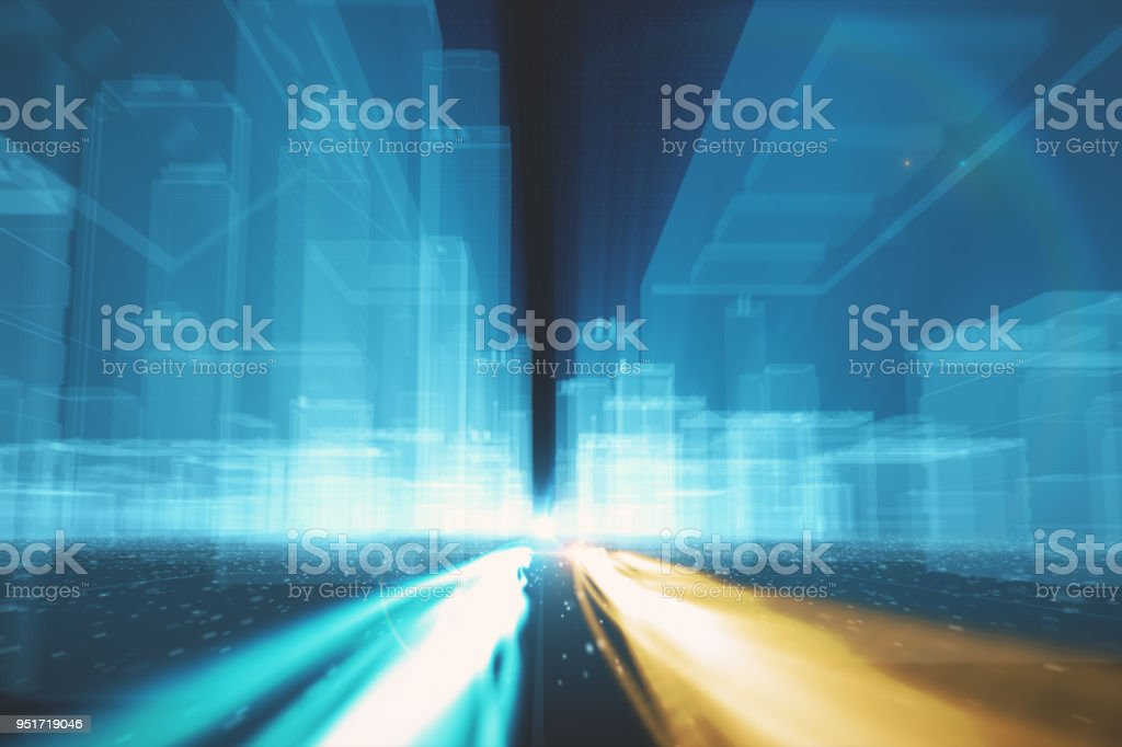 Abstract background of fiber optic cables carrying information into wireframe city buildings 3d illustration stock photo