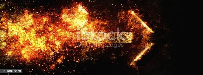 1191600199 istock photo Abstract background of horizontally moving flame arrows 1213818875