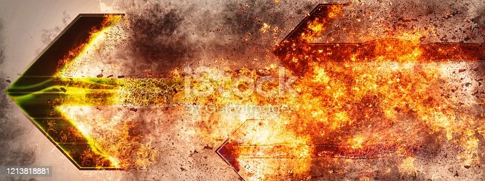1191600199 istock photo Abstract background of horizontally moving flame arrows 1213818881
