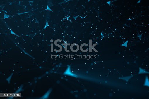 istock Abstract background of lines and dots, low poly mesh. Concept cloud internet connections technology connections. The current example of artificial intelligence concepts of the future, 3D illustration 1041494780