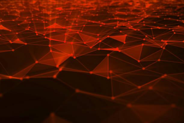 hintergrund von linien und punkten zu abstrahieren, niedrige poly mesh. begriff cloud technologie internetverbindungen verbindungen. das aktuelle beispiel der künstlichen intelligenz-konzepte der zukunft, 3d illustration - datenknoten stock-fotos und bilder