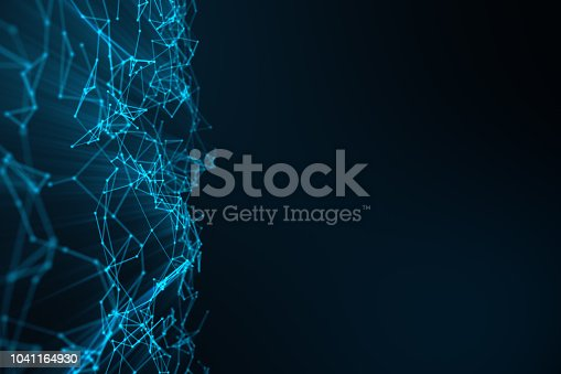 istock Abstract background of lines and dots, low poly mesh. Internet connections technology. Concept of neural connections transmitting signals between artificial neural connections. 3D illustration 1041164930